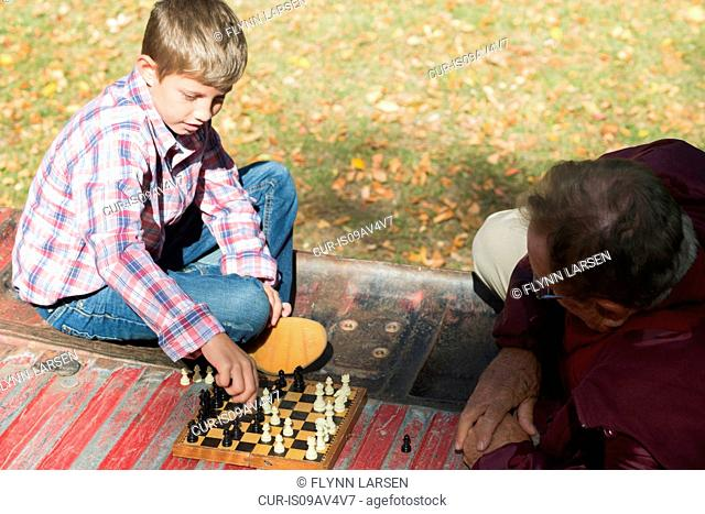 Senior man and grandson playing chess in back of pickup truck