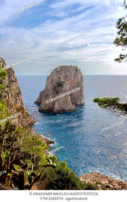 Faraglioni rock on Capri island, Italy. One of magic views in Capri island, close to Naples. By the way, locals say that they have seen sirens on this rock and...