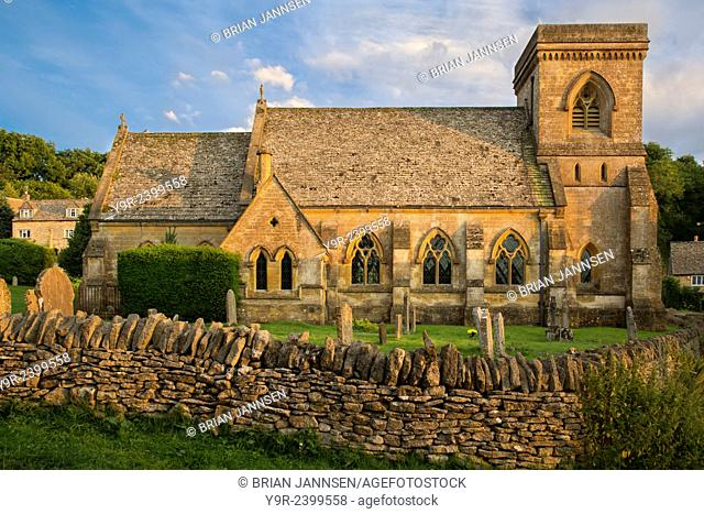 Evening sunlight on St Barnabas Church, Snowshill, the Cotswolds, Gloucestershire, England