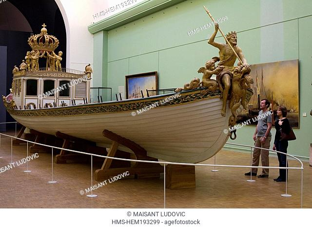 France, Paris, Musee de la Marine Marine Museum, Napoleon the first' s imperial rowboat