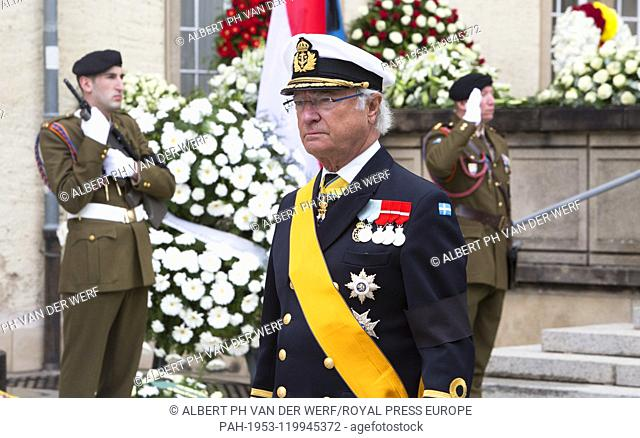 King Carl Gustaf of Sweden leave at the Cathédrale Notre-Dame in Luxemburg, on May 04, 2019, after the Funeral ceremony of HRH Grand Duke Jean of Luxemburg (5...