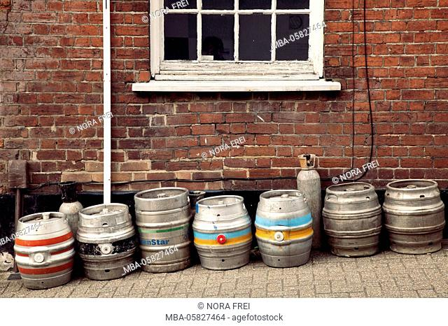exterior wall, beer barrels, old building, architecture