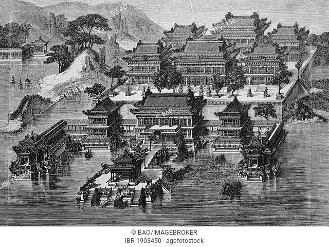 Summer Palace in Beijing, Forbidden City, China, historical woodcut, circa 1865