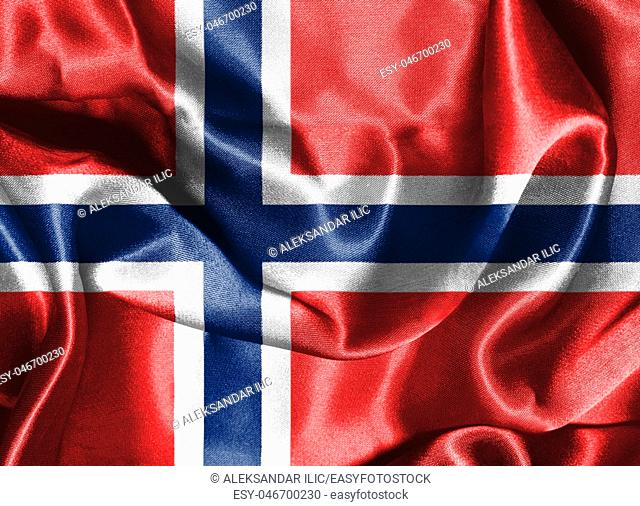 Flag of Norway. Blue Scandinavian Cross Over the Dannebrog, the Flag of Denmark 3D illustration