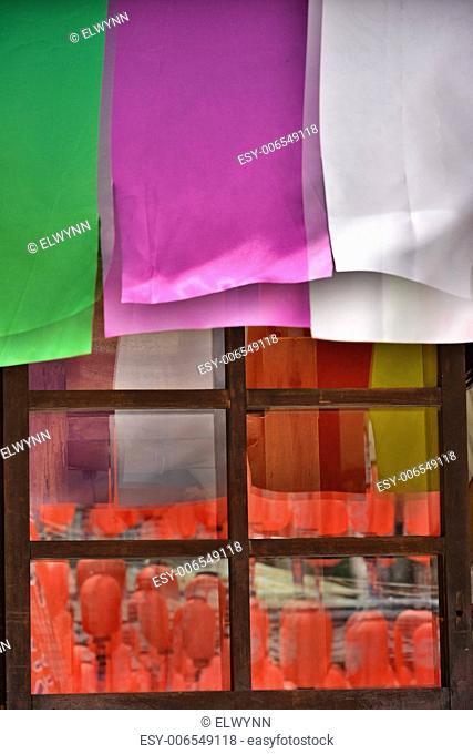 Colorful window at Ji-an Keishuin temple, Hualien, Taiwan, Asia