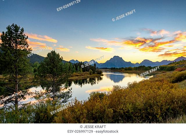 Snake River and Grand Teton National Park sunset and landscape view