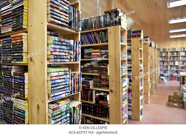 Rows of books at a used bookstore, Coombs, Vancouver Island, British Columbia, Canada