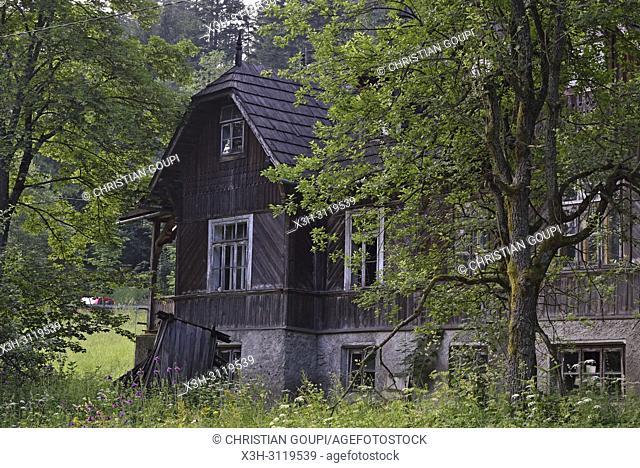 vieille maison en bois dans le quartier de Jaszczurowka, Zakopane, region Podhale, Massif des Tatras, Province Malopolska (Petite Pologne), Pologne