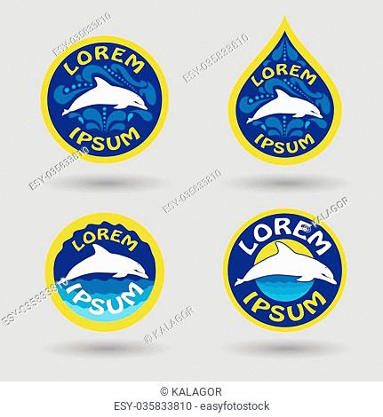 swimming or sport club logo set with dolphin and water drops illustration