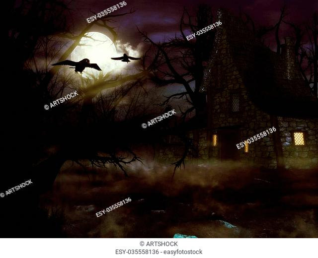 A spooky witch house at night in the night forest