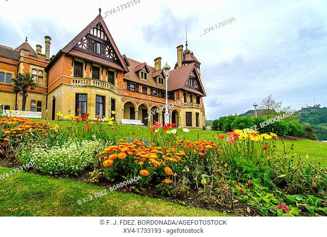 Gardens detail of Miramar Residence in San Sebastian, by English architect D Seldon Vornum  Gipuzkoa, European Capital of Culture 2016, Basque Country, Spain
