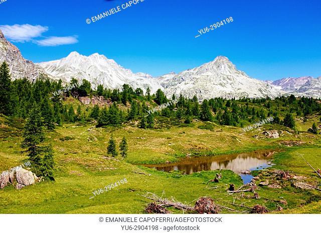 Alpine lake and mountain landscape, Alpe Devero, Italy