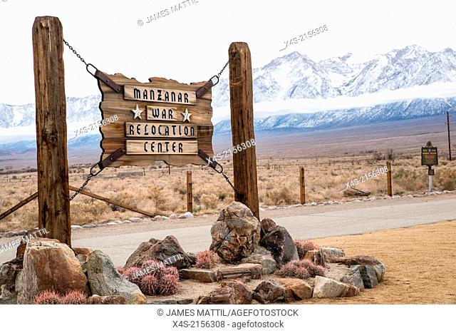 The Manzanar relocation camp sign where thousands ofJapanese-Americans were held in detention during World War I Iin California