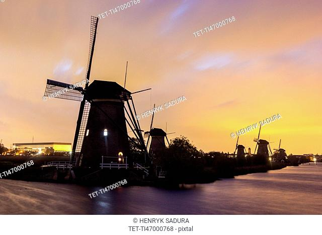 Silhouette of traditional windmills