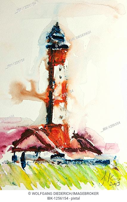 Watercolor of the lighthouse Westerheversand, Sankt Peter-Ording, North Frisia, North Germany, artist Gerhard Kraus, Kriftel, Germany