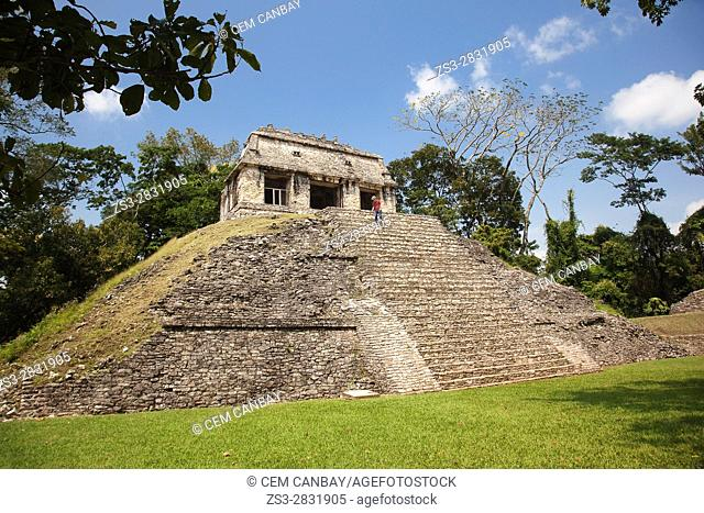 Tourist at the stairs of the Templo del Conde-Temple of Conde in Palenque Archaeological Site, Palenque, Chiapas State, Mexico, Central America