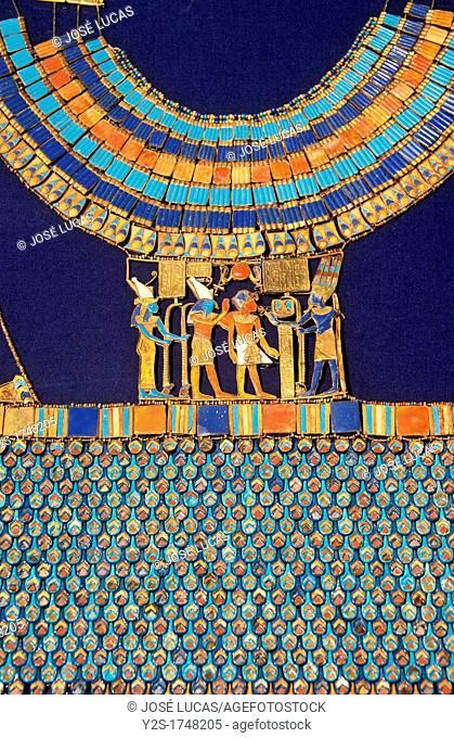 Pectoral, The god Amun-Re receives the pharaoh, Tutankhamun's treasure, Museum of Egyptian Antiquities, Cairo, Egypt