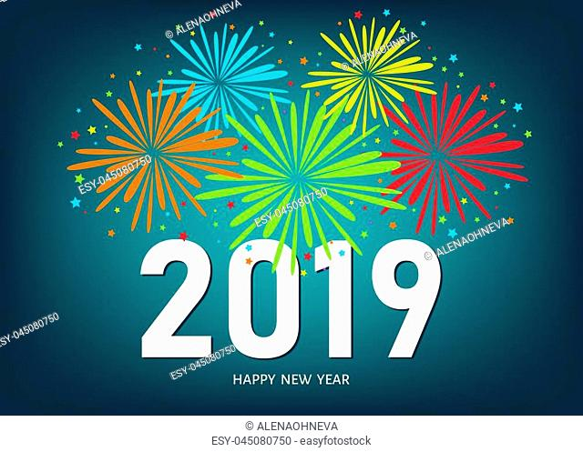 2019 Happy New Year greeting card on blue background with colorful fireworks. Vector design template