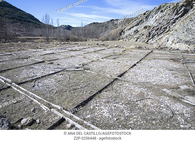 Old salt mines in Arcos de las Salinas Teruel Aragon Spain