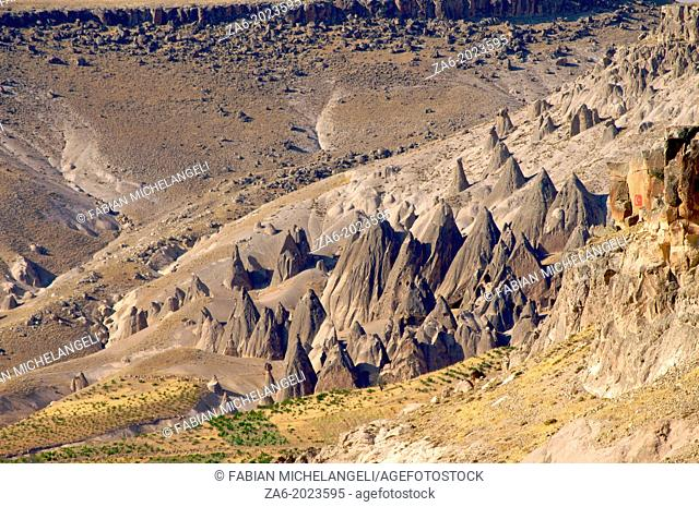 Cave Dwellings and Fairy Chimneys at Selime. Cappadocia, Central Anatolia, Turkey