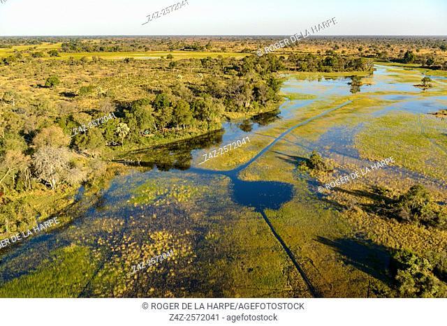 Aerial view of African Horseback Safaris camp. Okavango Delta. Botswana
