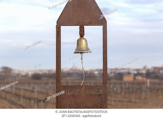 Landscape in Penedes wine region, vineyards and bell in countryside, Vilafranca del Penedes, Catalonia, Spain