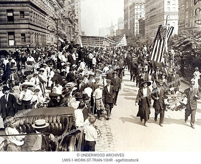 New York, New York: September 14, 1916 The head of the huge parade of over 10,000 striking streetcar men as they passed down Park Avenue on their way to a mass...