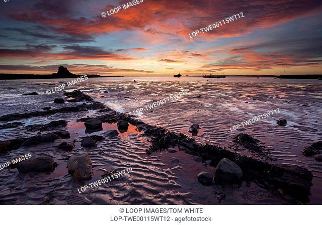 Fiery sunrise on Lindisfarne