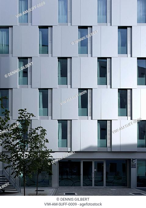 RESIDENTIAL STUDENT HOUSING ALLIES AND MORRISON LONDON 2010 DETAILED FRONT ELEVATION OF ALUMINIUM CLAD HOUSING TOWER, LONDON, UNITED KINGDOM, Architect
