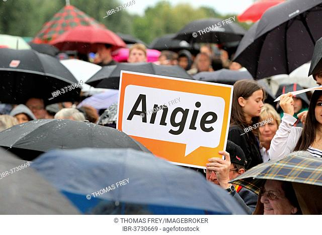 Angie poster at an election rally of the CDU, Koblenz, Rhineland-Palatinate, Germany