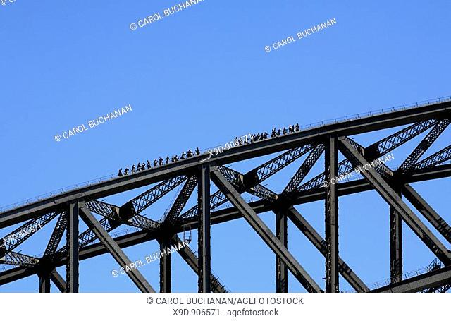 a group of people climbing the Sydney Harbour Bridge