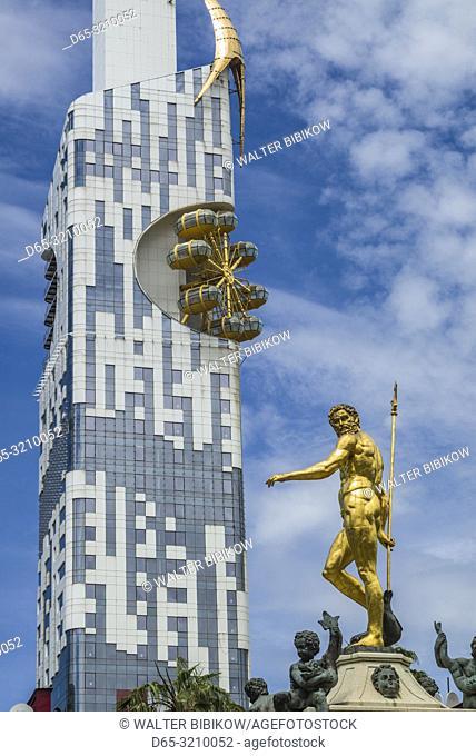 Georgia, Batumi, Batumi Tower and Neptune Fountain
