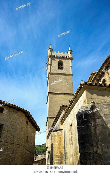 Bell tower of the San Martin de Tours Church, in Uncastillo, Zaragoza, Aragon, eastern Spain. It was consecrated around 1