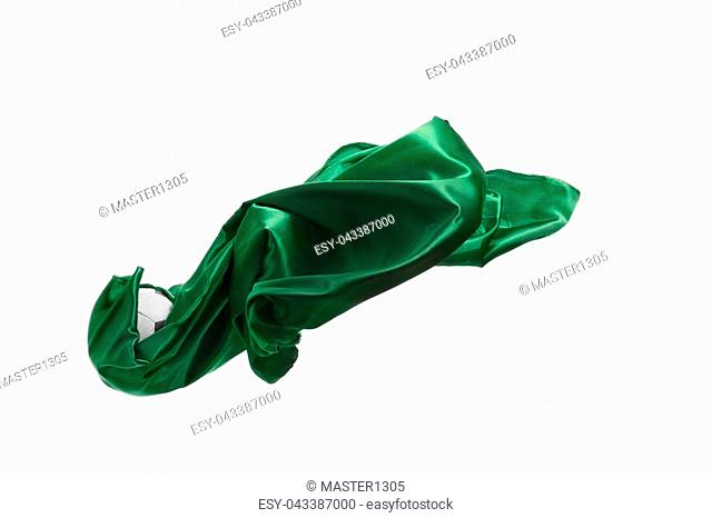 Smooth elegant transparent green cloth isolated or separated on white studio background. Texture of flying fabric