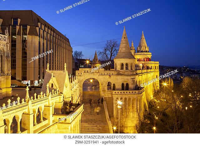 Evening at the Fishermen's Bastion in Budapest, Hungary