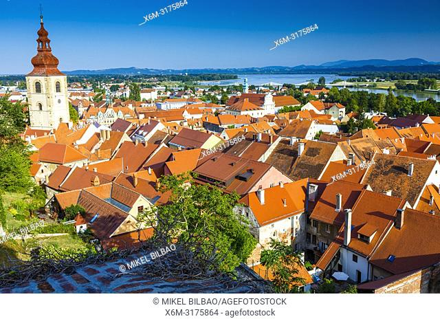 City view and town tower from the Castle. Ptuj. Styria region. Slovenia, Europe