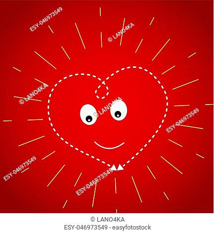 Heart on a dark red background in the yellow rays of the sun. Postcard for Valentine s day