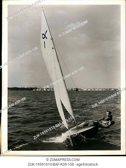 Oct. 10, 1959 - Unsinkable Dinghy; A 12 ft Alpha sailing dinghy, claimed as unsinkable by its manufacturers because of its foam plastic hull