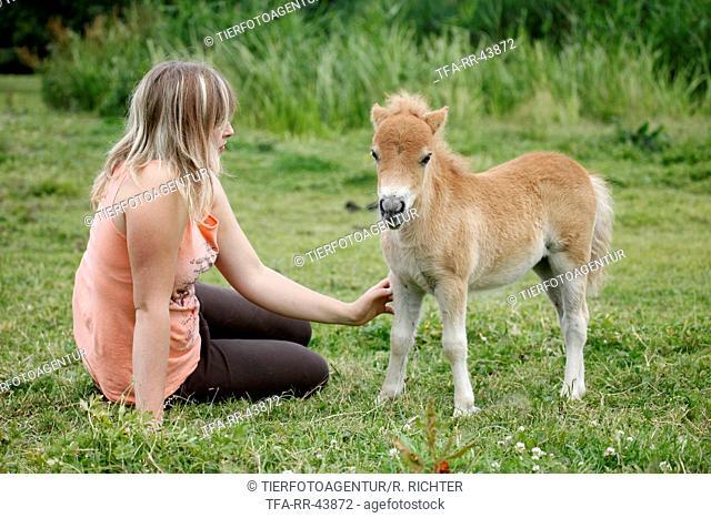 woman and Miniature Shetland Pony foal