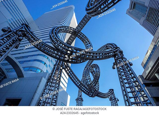 Japan, Yokohama City, Landmark Tower Complex, Steel Art