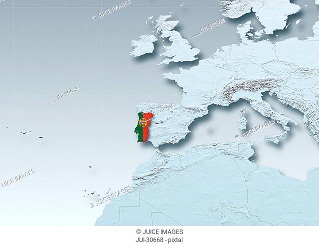 Portugal, flag, map, Western Europe, grey, physical, grey, political