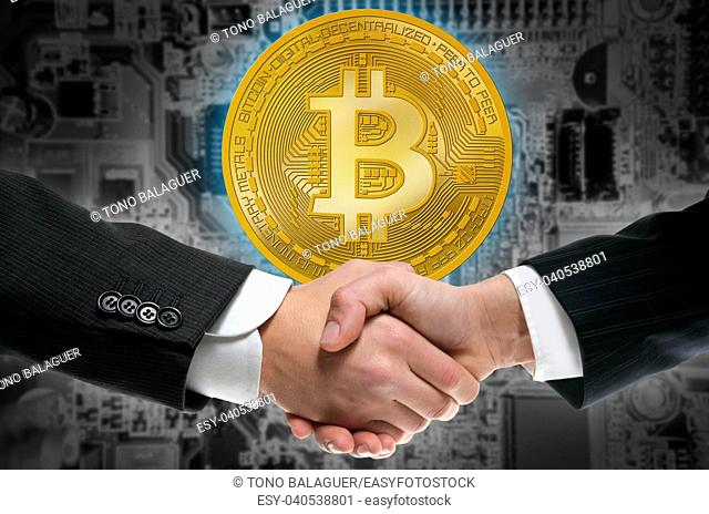 Bitcoin BTC in businessman handshake cryptocurrency