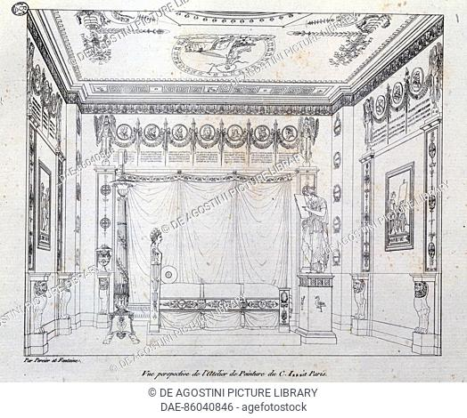 Painting Studio for CI, 1801, drawing from the Recueil de decorations Interieures by Charles Percier (1764-1838) and Pierre Francois Leonard Fontaine...