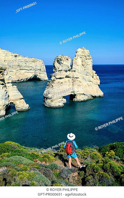 ARCHES AND ROCK FORMATIONS IN KLEFTIKO ON THE ISLAND OF MILOS, CYCLADES, GREECE