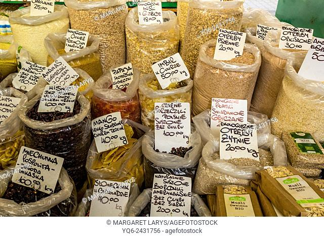 Collection of various, organic dry fruits and seeds in Food market in Cracow, Poland