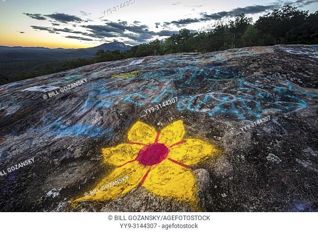 Graffiti at Bald Rock Overlook - Bald Rock Heritage Preserve, Cleveland, South Carolina, USA
