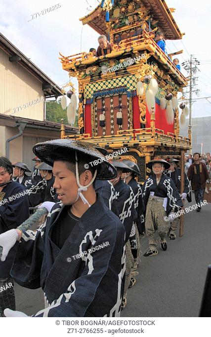 Japan, Gifu, Takayama, festival, procession, float, yatai, people,