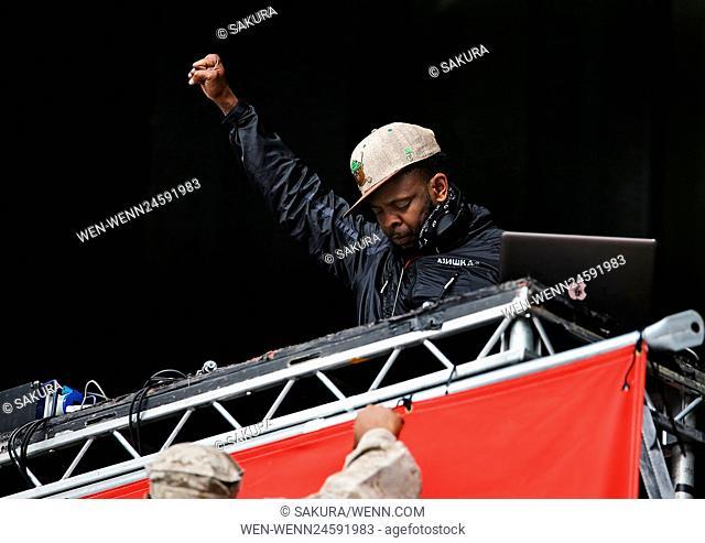 Public Enemy performing at Manchester's Etihad Stadium Featuring: Public Enemy, DJ Lord Where: Manchester, United Kingdom When: 15 Jun 2016 Credit: Sakura/WENN