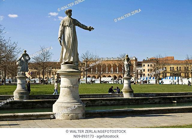 Canal public square, Prato della Valle in Padua, Italy