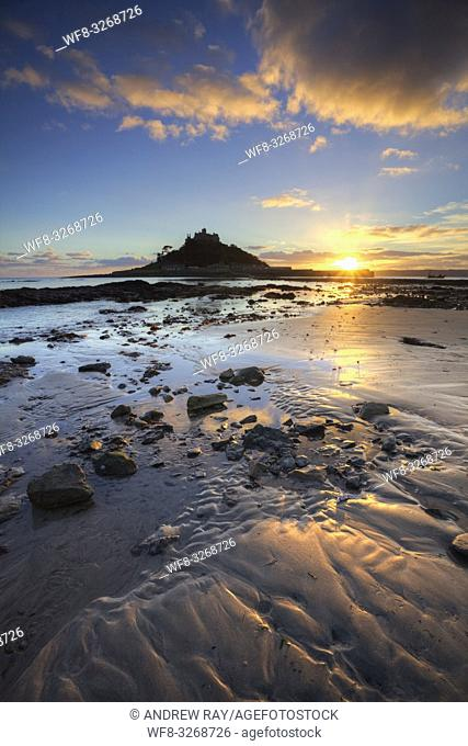 St Michael's Mount captured shortly before sunset in December, from the beach at Marazion in the west of Cornwall